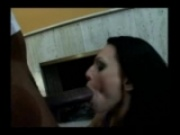 Horny brunette sucks big cock and takes it in her ass