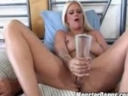 Brooke Hunter fills up her tight pussy with a huge glass dildo