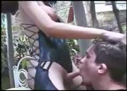 Leather Clad Tranny Fucked Outdoors