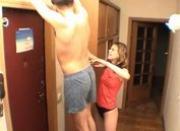 Girlfriend sucking her guy at corridor