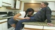 Pigtailed white panty schoolgirl nailed in the kitchen!