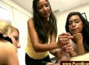 Four girlfriends jerks and suck a naked guy