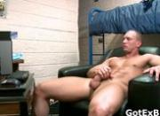 Muscled straight guy jerking his firm