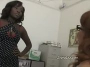 Brunette lesbian caught masturbating at work by her boss
