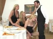 Blonde milfs suck off waiter in restaurant