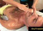 Hairy stud seduced by horny massage guy