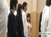 Invisible nudist Japan schoolgirl bizarre handjob game