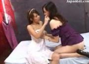 2 Asian Girls Kissing Rubbing Spitting On The Bed
