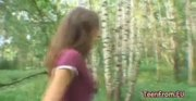 Amateurs blowjob in a forest