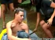 Tranny shemales punishing a guy