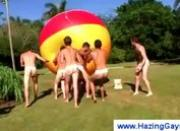 Sporty gays get humiliated outdoor
