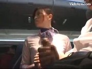 Stewardess Jerking Passenger & Tasting His Cock