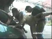 Girl taking gangbang in garage