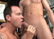 Muscular twink is giving a blowjob