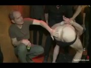 Muscle sub gangbanged at a party