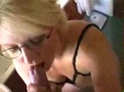 Mature Blonde Wearing Glasses Sucks Hubby`s Cock