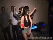 This party gets even wilder when this brunette gets fucked by two cocks