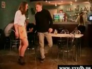 Hot schoolgirl gets fucked in a bar