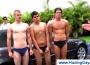 Naked college guys washing each other outdoors