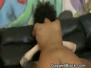 Black Slut Flat On Her Back Getting Hammered With White Cock