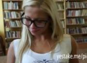 Blonde bookwurm gives head and anal rides in a library