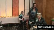 Slutty hot women having food fight at european restaurant