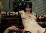 Lesbian mistress exploring her dirty fantasies with sex slave tied to electric bondage device