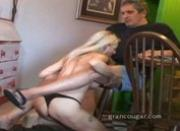 Hot old cougar with old guy sucks his cock and gets her pussy fucked