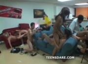 Insane tight teen girls group sex party with frat boys