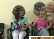 Babes give handjob at hairdressers