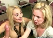 Two slutty teens wank off teacher