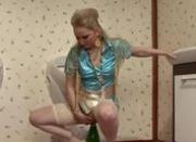 Gloryhole bukkake slut fucks a champagne bottle