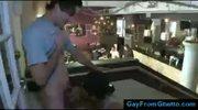 Black gay guy blows white boy in public lunchroom