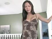 Busty Asian shemale Taylor Stewart is masturbating and cums