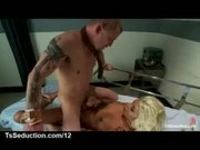 Blonde tranny fucks handcuffed and tied to bed frame guy in hospital