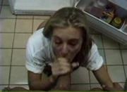 Blonde nasty young babe makes a hot blowjob in the kitchen