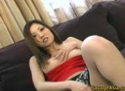 Pussy shaved asian babe gets fingered