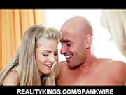 Pretty young wife surprises her man with a threesome