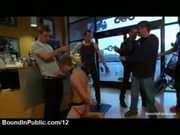 Leashed bound gay give blowjobs in shop