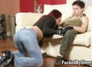 Tgirl pumps a stud