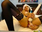 Busty Latina Fucks her Pussy with a Dildo