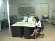 Japanese chick play herself in office