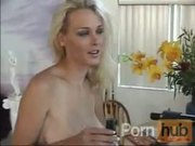 Big tit blonde gives a fine blow in the bathroom