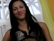 Small tits shemale Bruna Saltelly unloads while she is anal reamed