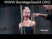 blonde bondage slave Niki Nymph in hard Bondage