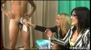 CFNM girls shave a guys cock