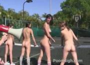 Tennis teens hazed with dildos inside their tight young pussies by older lesbos