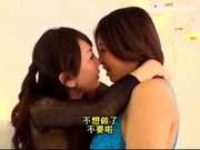 Asian Girl In Fishnet Dress Kissing Passionately Spitting Licking Other Girls Face Armpit Tits On The Bed