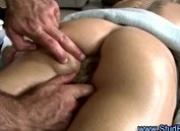 Mature gay masseur uses glass dildos on straight guys ass