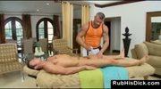 Horny gay bear sucks dick after gay massage